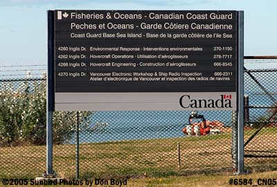 Entrance to Canadian Coast Guard facility on south side of Vancouver International Airport stock photo #6584
