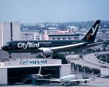 1998 - City Bird B767-33A/ER OO-CTQ Falcon landing at Miami aviation airline stock photo #EU9801