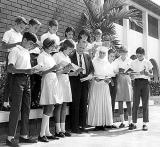 1960, 1968 or 1969 - Immaculate Conception students read to long-time Mayor of Hialeah Henry Milander (see comments for names)
