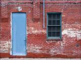 Blue door and red bricks