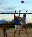 Scott goes up for ball
