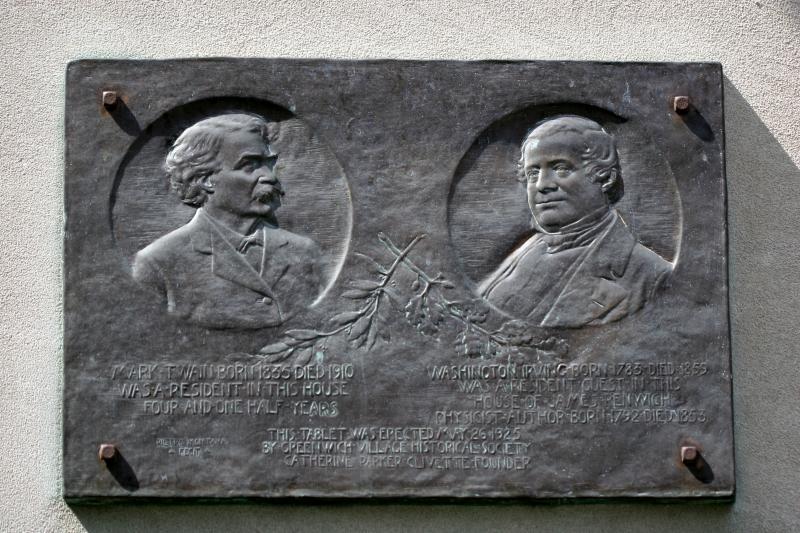 Mark Twain & Washington Irving Memorial Marker