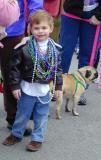 Mardi Gras Boy with Dog