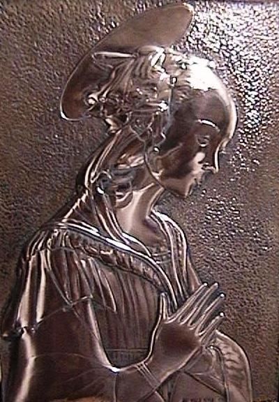 Virgin of the rocks Filippo Lippi, replica, copper 30x60cm