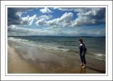 Carole on Nairn beach, Nairnshire, Scotland