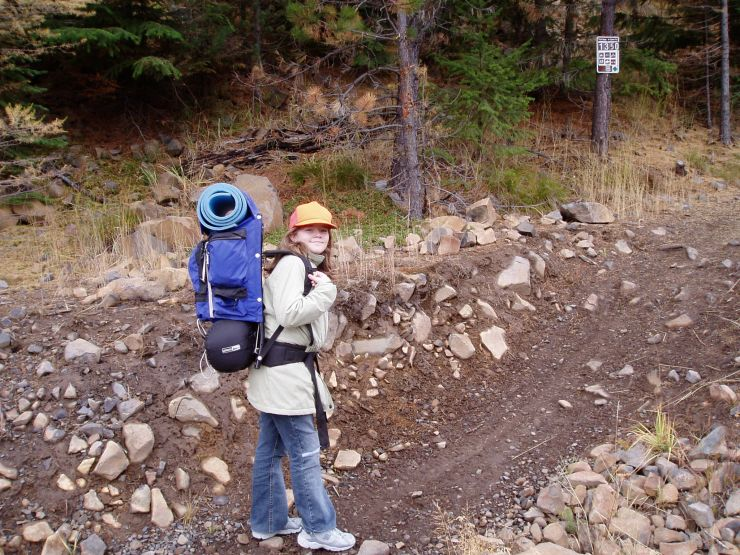 2005 October 8 Meagan going for her first back pack trip.jpg