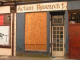 boarded up shop