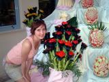 Lillia with fruit carvings