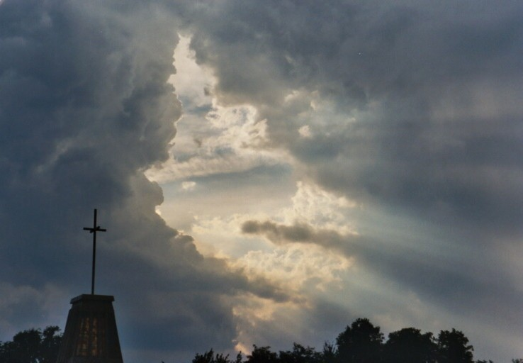 steeple with clouds