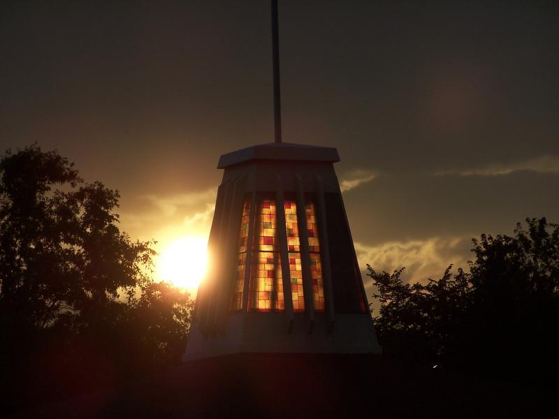 tbc steeple at sunset