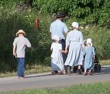 amish family walking