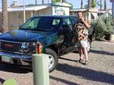 the new green truck, coffee cup and Jeff