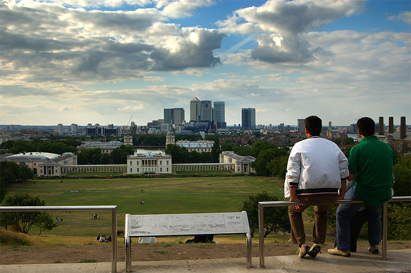 Docklands from Royal Observatory in Greenwich