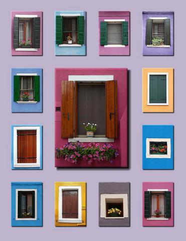 Windows of Burano, Italy
