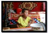 Mongol Boy Sitting in the Ger, Tov Aimag