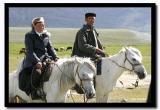 Kazakh Couple Riding White Horses, Bayan-Olgii