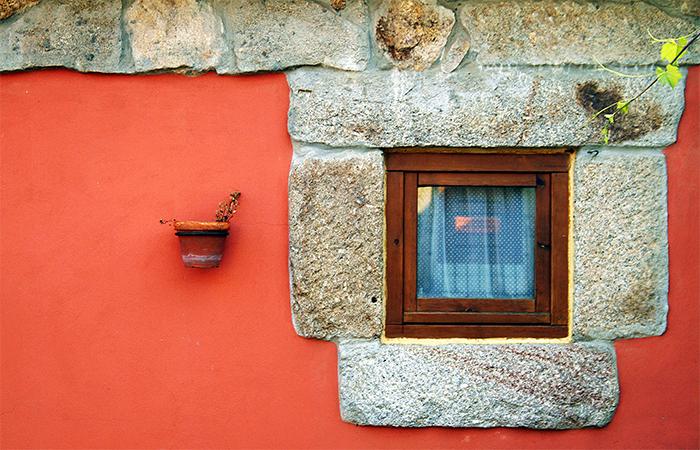 Window and granite frame
