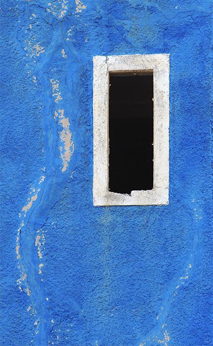 Blue wall, white window