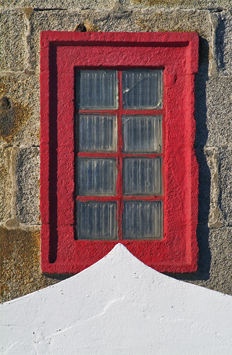 Red window and white triangle