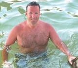 HairyChest Man MuscleBear Daddy Wet Swimming in Ocean Nudist Beach gallery