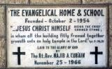 Cornerstone for Buildings of Evangelical Home & School in Ramallah