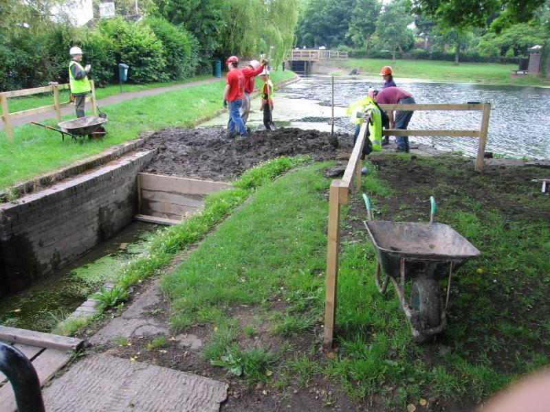 First job was to raise the dam by the second lock down stop planks...