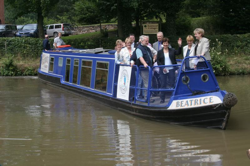 The VIPs arrive on Local Community boat Beatrice