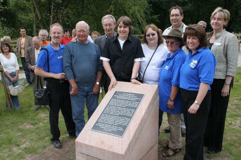 The lockside plaque is unveiled