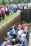 The first boat in 50+ years goes down the lock ...