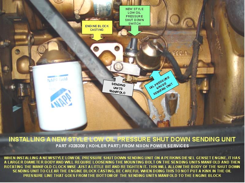 INSTALLING A NEW STYLE LOW OIL PRESSURE SHUT DOWN SENDING UNIT