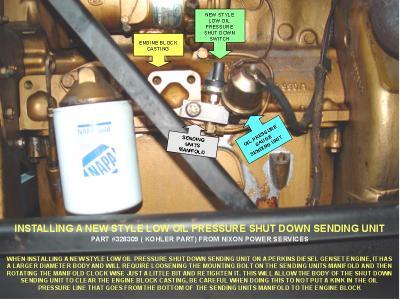 INSTALLING A NEW STYLE LOW OIL PRESSURE SHUT DOWN SENDING UNIT photo
