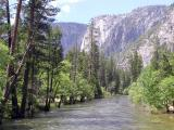 Yosemite Falls above the Merced River