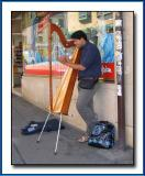 The harpist with trash bag