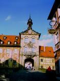 la vieille porte sur la Regnitz , Bamberg