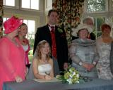 Mum Leake (in pink on the left, can you see her?), Becks, Us, Mum Glew, Dad Glew & Catharine (and Mike's arm I think)