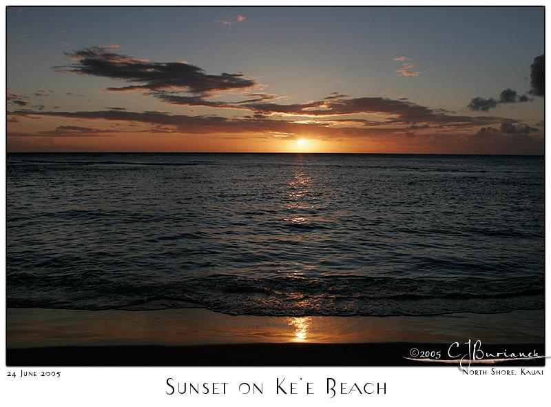 24Jun05 Sunset on Kee Beach