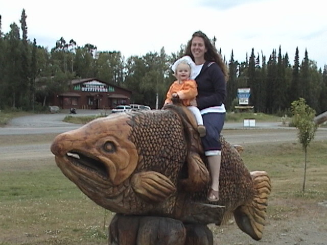 Lilli rides the wooden fish with mommy.JPG