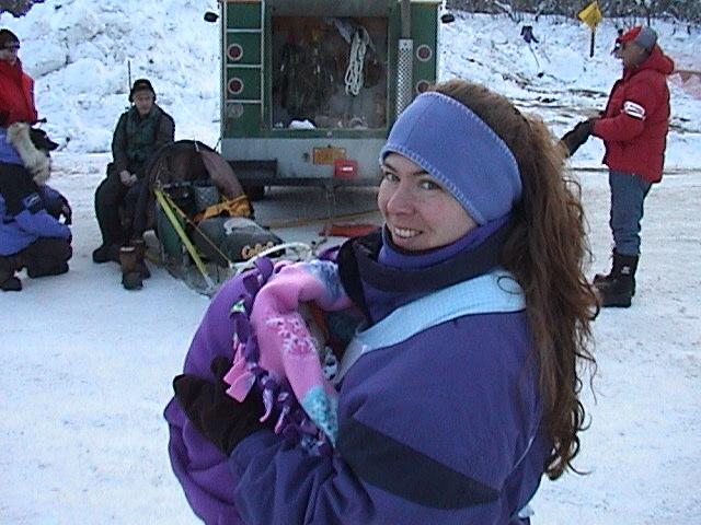 Lilli  & Ann bundled up at Iditarod 2004.JPG