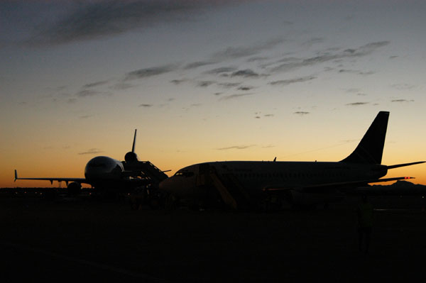 The Air Namibia fleet waits for the evening departures