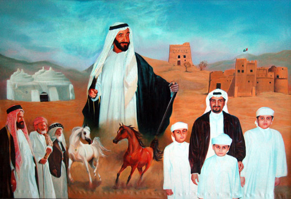 A painting of the Emir of Fujairahs family and Sheikh Zayed