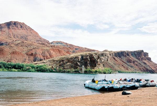 Rafts preparing for a Grand Canyon run