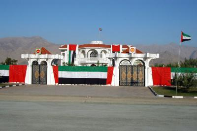 House in Dibba festively decorated in the UAE flag