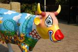 Colorful cow greeting visitors to Gold Reef City