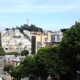 view of Coit Tower from Lombard Street