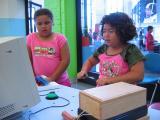 Azaria and Sarah checking their heartbeat