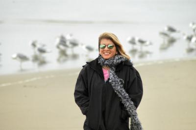 Laurie on the beach in Monterey Bay