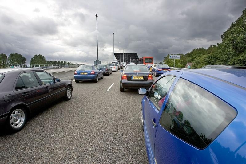 Waiting for the bridge to close (highway in The Netherlands)