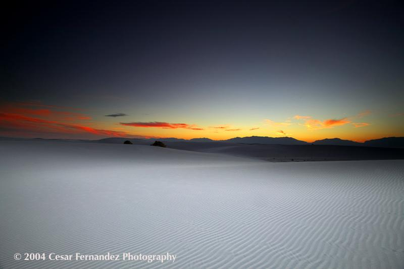 Sunset at White Sands National Monument - New Mexico.